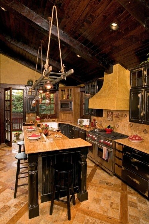 I like the tile and wood floor and the style/distressed woodwork, but would probably go for a lighter wood color