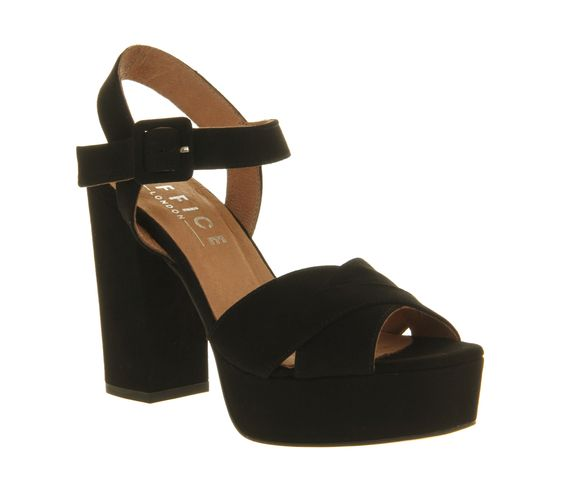Office Onward Platform Sandal Black Suede - High Heels | Shoes