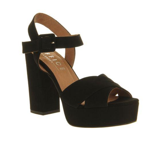 Office Onward Platform Sandal Black Suede - High Heels | Shoes