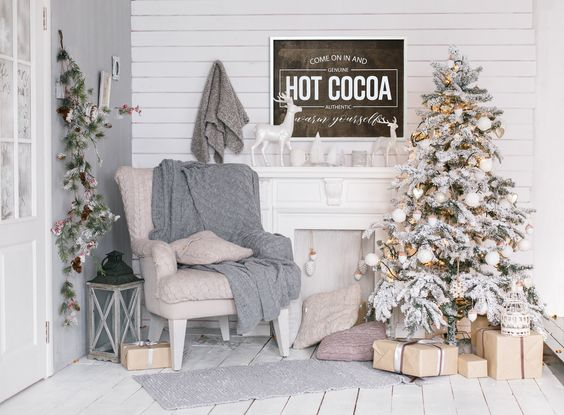 Hot Cocoa 34x26 MORE COLORS / christmas / hand painted / wood
