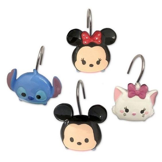 Disney Tsum Tsum Stacks On Stacks Shower Curtain Hooks Set Of 12 Disney Disney Bathroom Disney Tsum Tsum Shower Curtain Hooks