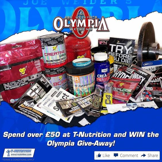 It's the Olympia 2016 weekend!  Who are you rooting for? What do you think of Kevin Levrone's comeback? Nevermind nevermind let's get to the important stuff a HUGE GIVEAWAY!  Running Friday Saturday and Sunday spend over 50 in-stores or online at T-Nutrition and WIN the daddy of all hampers!  What's in it? You get a FULL container of - BSN Creatine DNA - BSN BCAA DNA - BSN Water Jug - BSN NO-Xplode 3.0 240g - Reflex Nutrition BCAA Intra Fusion - USN Creatine X4 120ct - Cellucor Gym Towel…