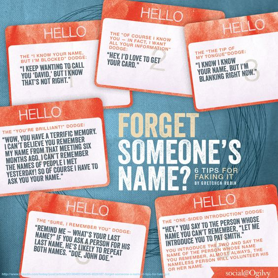 Forget Someone's Name? Here are 6 Tips for Faking It by Gretchen Rubin.
