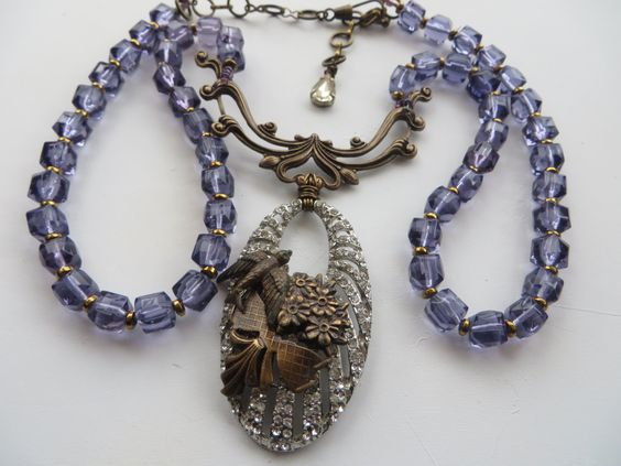 Purple Splendor Sparkly Bird and Flower Necklace with Vintage Rhinestones and  Amethyst Glass by DebsVintageSoul on Etsy