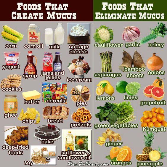 Lebensmittel die Verschleimen und Lebensmittel die Schleim lösen - iss in der Erkältungszeit besser von der rechten Seite.
