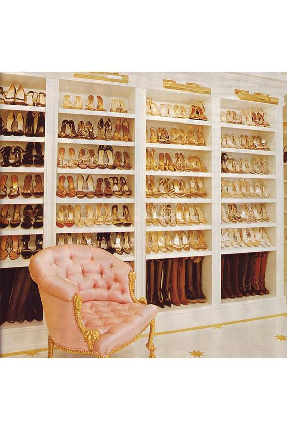 "Mariah Carey reveals her extensive shoe collection in an Instagram picture captioned: ""Always my favorite room in the house... #shoes #shoes #moreshoes."""