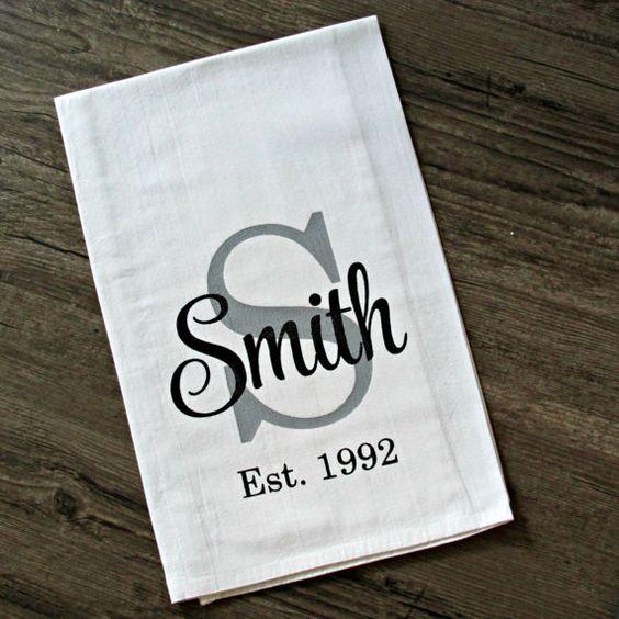 Custom Flour Sack Kitchen Towels / Farmhouse Chic / Cottage Chic / Tea Towel / Establish