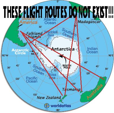 Because the earth is flat circle surrounded by the Antarctica. Description from okinawau.blogspot.com. I searched for this on bing.com/images: