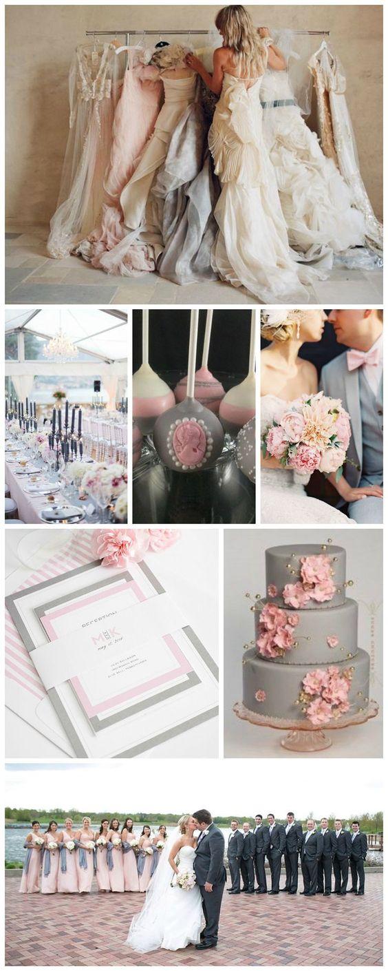 Pink, gray and blush wedding inspiration.
