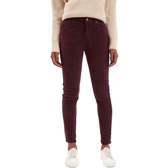 Topshop Moto 'Jamie' Corduroy Skinny Jeans ($80) ❤ liked on