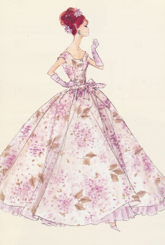 vintage barbie sketch...I adore these old prints !!!