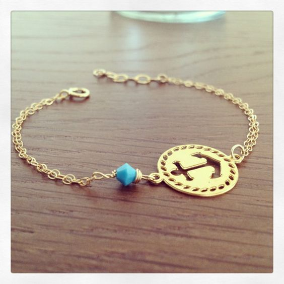 Turquoise Anchor Everyday Bracelet