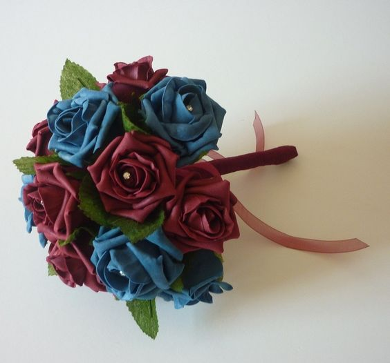 Burgundy and Teal Artificial Bridesmaid Bouquet