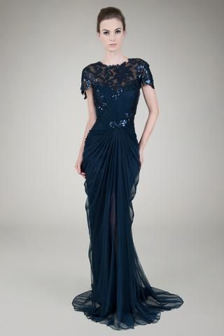 Paillette Lace And Tulle Gown In Navy