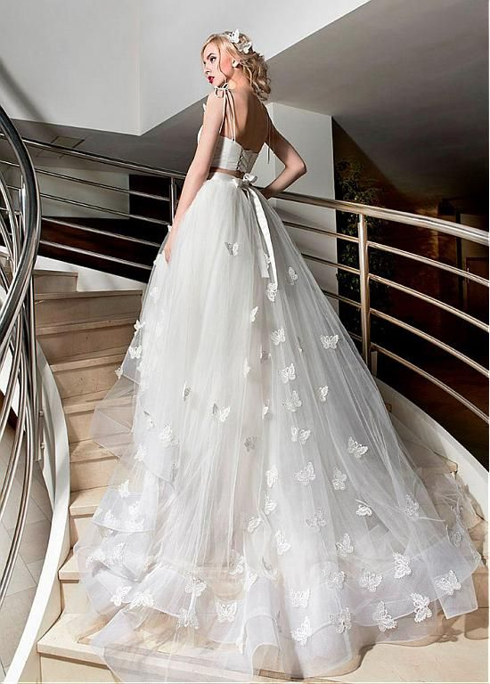 Marvelous Tulle Spaghetti Straps Neckline Two-piece A-line Wedding Dresses With Butterflies