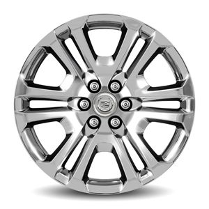 Escalade 22in Wheel, Chrome, CK158, Single:Personalize your Escalade with these 22-Inch Chrome Accessory Wheels. Use only GM-approved wheel and tire combinations.