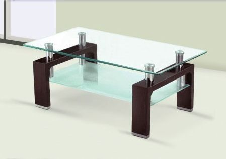Mesa ratona rectangular de vidrio patas de madera mesas for Cristal para mesa rectangular