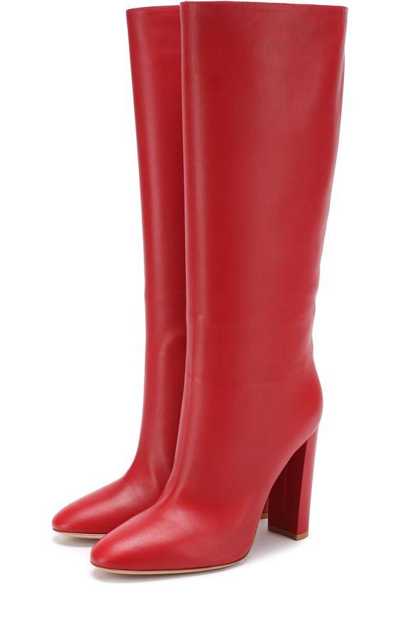 Женские красные кожаные сапоги laura на устойчивом каблуке Gianvito Rossi, сезон FW 17/18, арт. G80726.15RIC.NAP купить в ЦУМ | Фото №1
