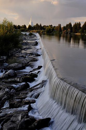 Idaho Falls, Idaho.  Seriously - been through so many times and never knew there were actually falls there.  lol