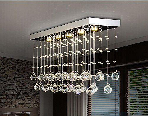 Moooni Rectangular Crystal Chandelier Lighting Modern Ceiling Light Fixture For K Modern Ceiling Light Fixtures Modern Ceiling Light Dining Room Ceiling Lights