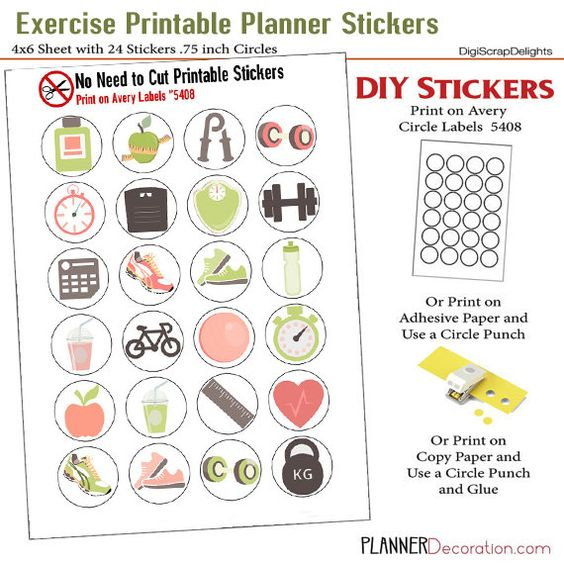 Exercise Icons No Cut Needed Printable Planner Stickers Sneakers, Bike, Water Bottle, Scale, Print On Avery Label 5408  #nocut #avery5408 #exercise #icons #printable #planner #stickers #decoration #decor #organization