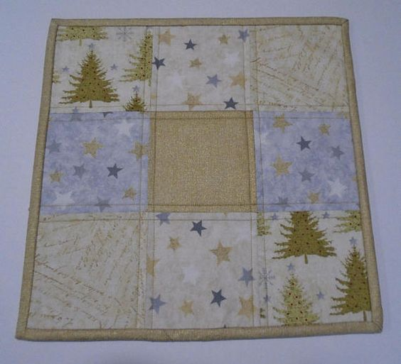 Quilted Table Topper in Gold and Silver Christmas Quilted