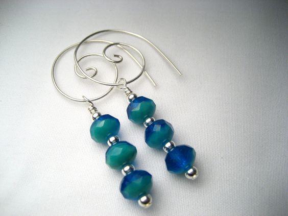 Teal Blue Hoop Earrings. $24.00, via Etsy.