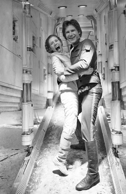 Harrison and Carrie having a laugh on set.