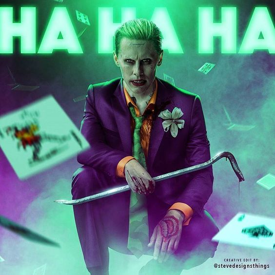 """So I personally really liked Jared Leto's Joker in Suicide Squad. Definitely excited to see more! Here's a new edit I was having some fun with. Bringing a little of that Animated Series flavor back into the look. "" - the talented @SteveDesignsThings #Moviepilot #Joker #SuicideSquad"