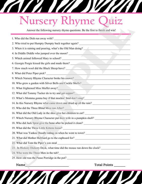 Instant Download Printable Nursery Rhyme Quiz by jessica91582