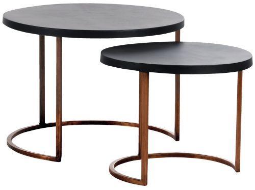 Coco Ajanta 2er Set Beistelltische Kupfer Tischplatte Schwarz