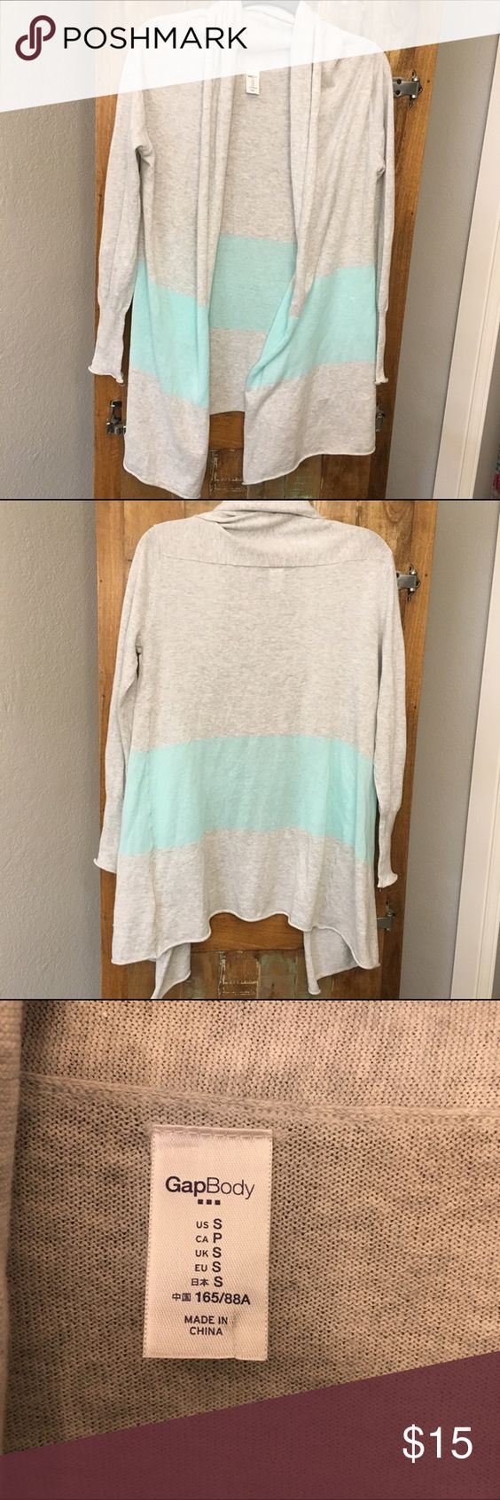 Gap body color block cardigan Gently used and in great condition other than a tiny hole in the material where the neck is. Never even noticeable bc the fabric gathers there. GAP Sweaters Cardigans