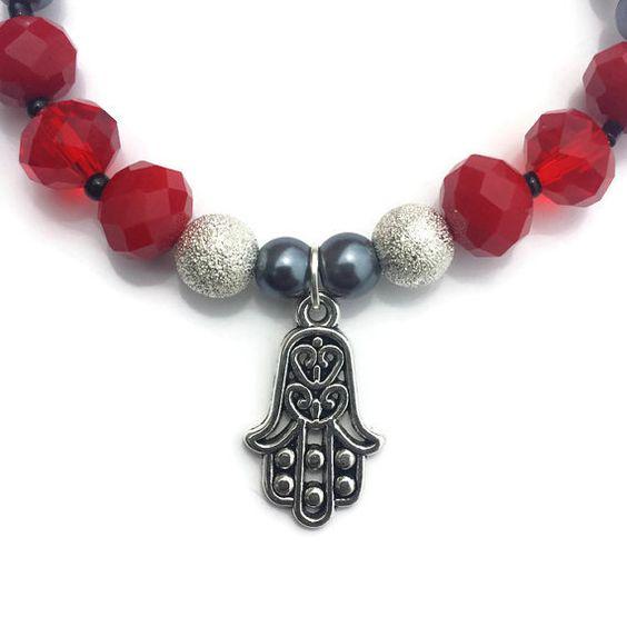 Red Hamsa Bracelet Hand of Fatima Bracelet Hamsa by MystifyGifts