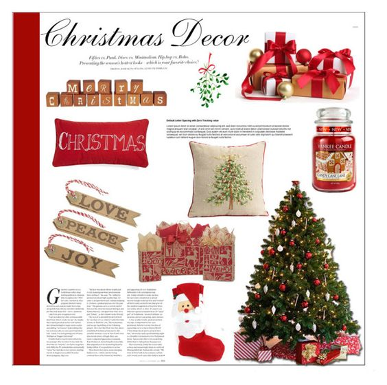 """""""Indoor Christmas Decor"""" by moosegodstiel ❤ liked on Polyvore featuring interior, interiors, interior design, home, home decor, interior decorating, H&M, Levtex, Yankee Candle and WithChic"""