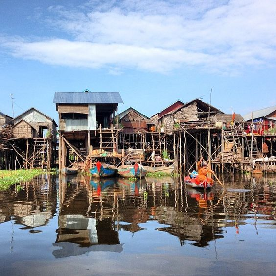 The floating villages in the waters of Tonle Sap Lake, Siem Reap, Cambodia