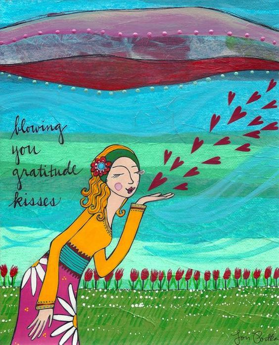 The card reads: blowing you gratitude kisses This card is 5 by 7 and fits perfectly into a standard 5x7 frame. Each card is printed on sturdy archival paper, is rich in color and blank on the inside for you to write the sweetest note. A matching colored envelope comes with the card and
