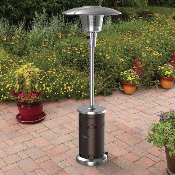 Garden Treasures 47,000-BTU Mocha Steel Floorstanding Liquid Propane Patio  Heater. For lake house