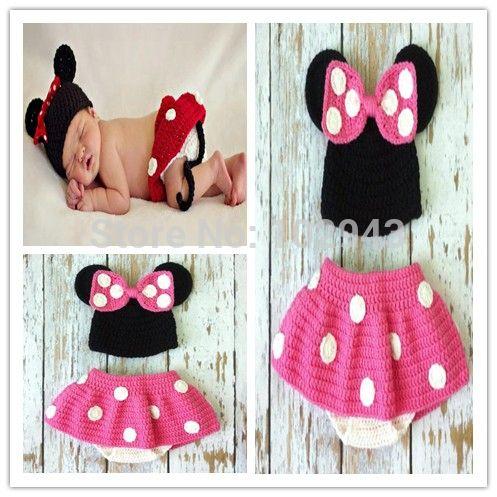 Pas cher 2015 New crochet Mickey chapeau avec rouge jupe ensemble bébé nouveau…