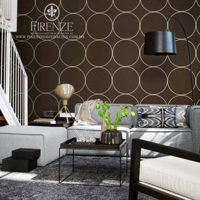 Papel tapiz firenze de circulos color cafe decoracion - Decoracion de cafeterias ...
