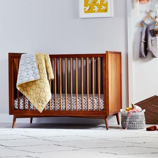 Mid Century Convertible Crib Acorn West Elm Baby Cribs Mid