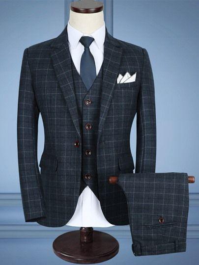 hot sale online c472d b6770 Modisch Slim Fit Herren 3-Teilig Anzug Kariert Design 8 ...