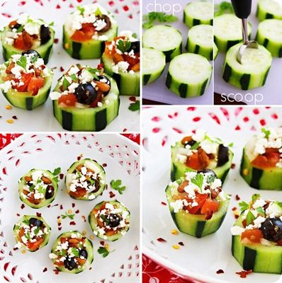 Cucumber cups: Feta, olives and tomatoes inside
