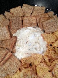Carmelized Onion Dip:  1 tablespoon vegetable oil 2 cups thinly sliced onion 2 teaspoons chopped fresh sage leaves 3/4 cup mayonnaise 3/4 cup sour cream 1 teaspoon salt 1 teaspoon ground black pepper Potato Chips for serving  http://www.q99fm.com/BreakfastClub/FDT2014.aspx