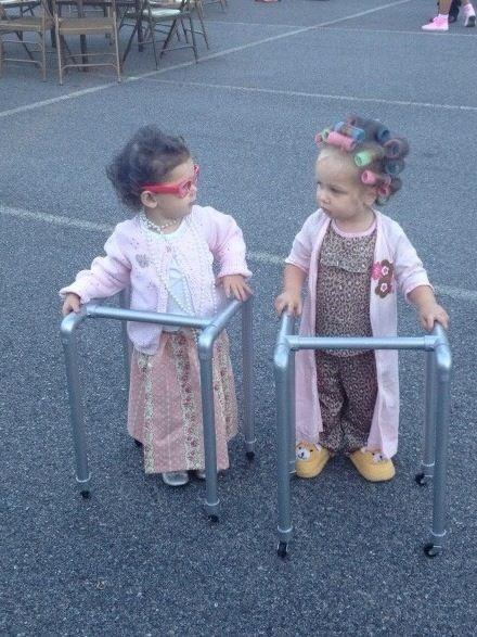 Walker Halloween Costume - Cute Little Girls Dressed as Old Women ---- hilarious jokes funny pictures walmart fails meme humor: