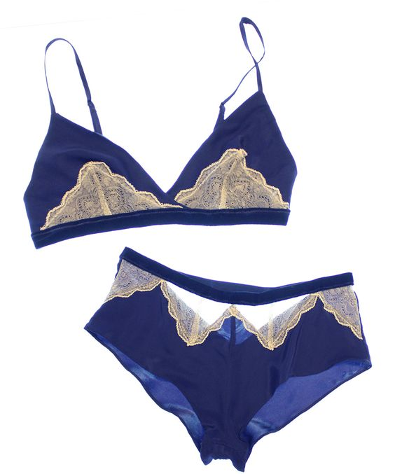 Between the Sheets Arabesque Cotton Silk/Lace Bralette & Ouvert Tap Pant - love the rich royal blue colour with cotton lace - reminds me of a vintage hanky!