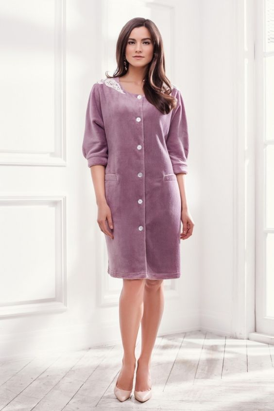 Купить оптом laete халат из мягкой ткани (12329-6) в Москве по доступной цене в интернет-магазине