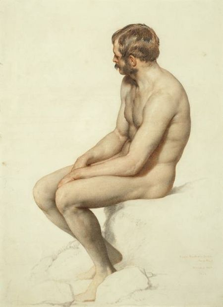 Academy Study, Crayon on paper - William Mulready 1846