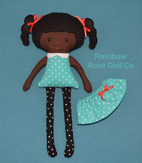 Rag Doll Pattern Fabric Doll Black Doll PDF by rainbowrosedollco