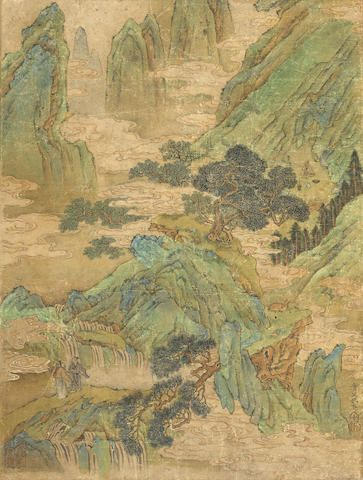 Attributed to Qiu Ying (1494–1552) Scholars in a Blue Green Landscape Hanging scroll, ink and color on paper, signed Shi Fu Qiu Ying, with two seals.  16 1/4 x 11 7/8in (41.4 x 30cm) 傳 仇英 青綠山水 設色紙本 立軸