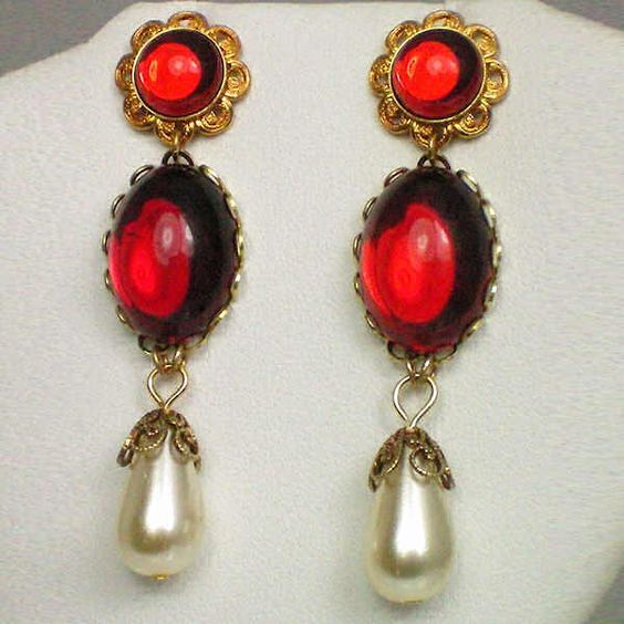 Ruby earrings, renaissance style